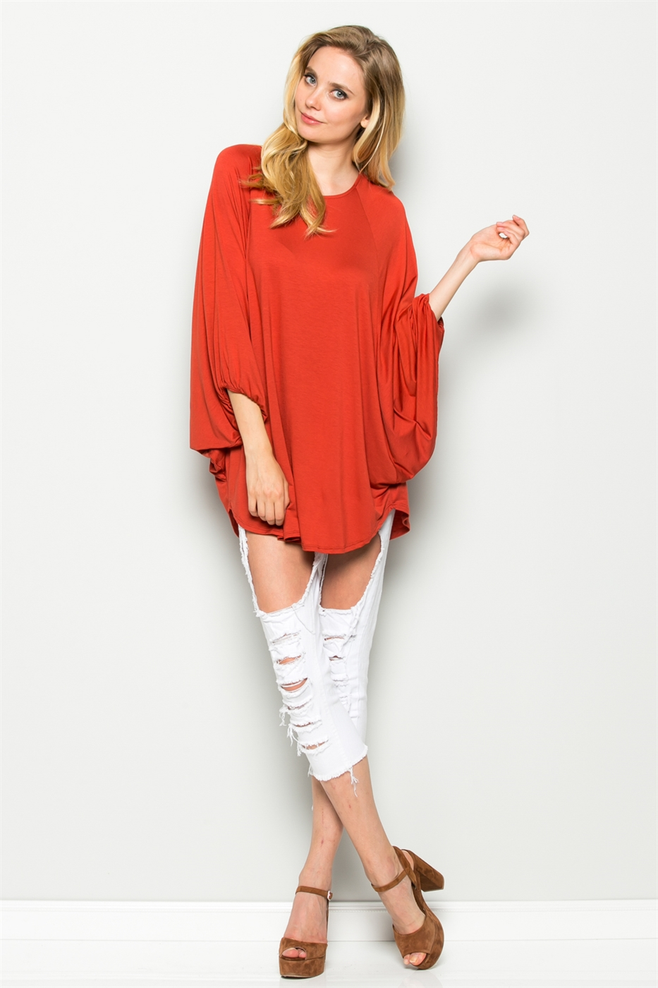 HEM BOTTOM 3/4 SLEEVE TOP - orangeshine.com