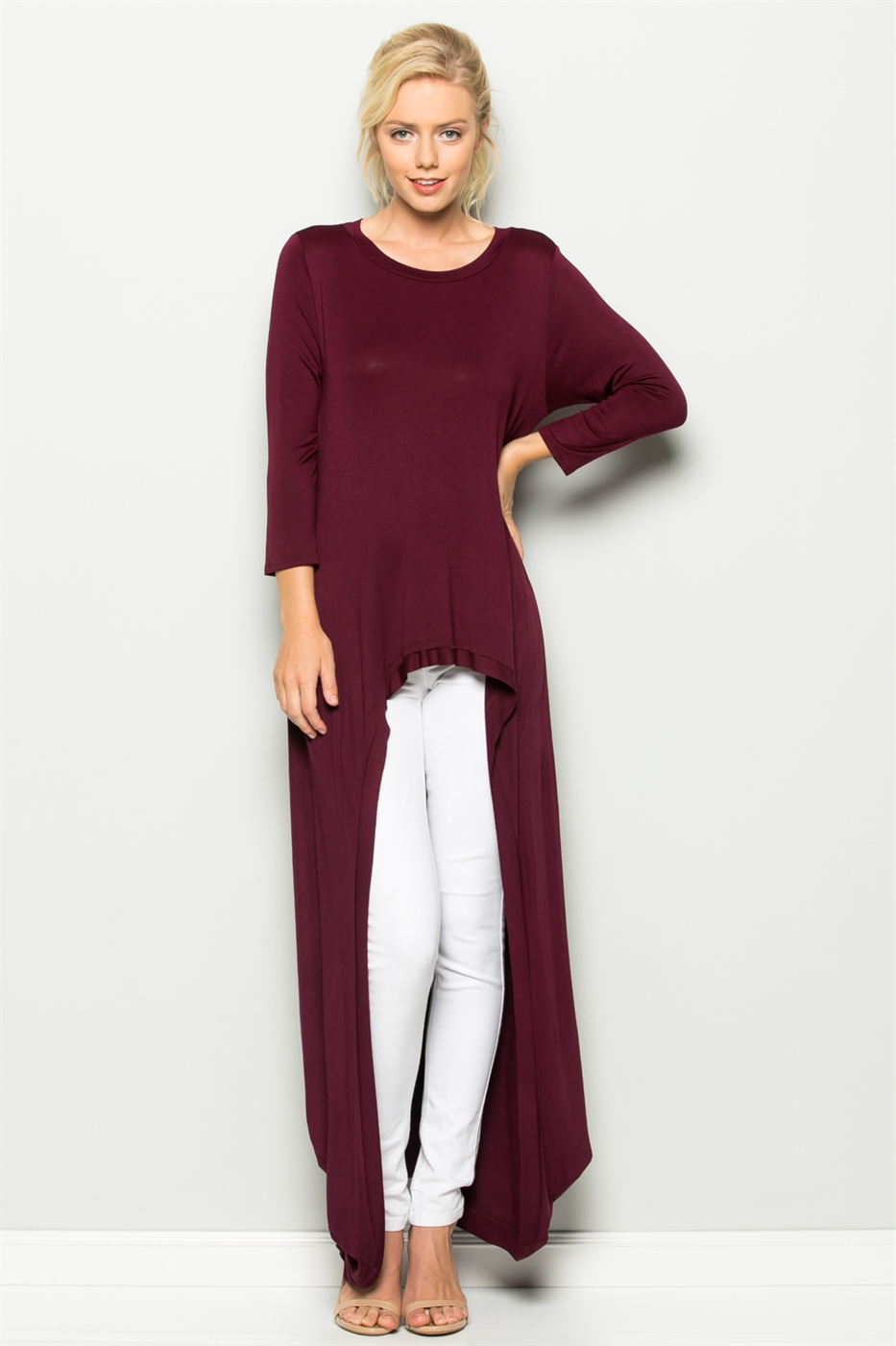 3/4 SLEEVE HI LOW TUNIC TOP - orangeshine.com