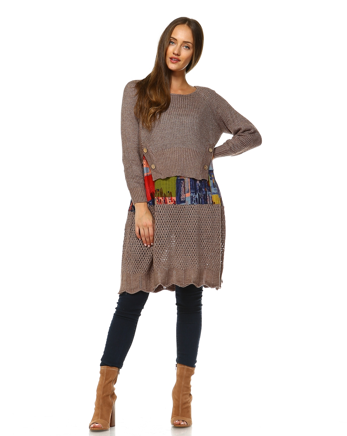 -Sweater Knit Overlapped Tunic - orangeshine.com