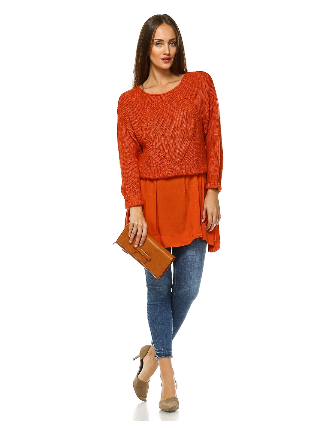 -Sweater Knit Overlapped Top - orangeshine.com
