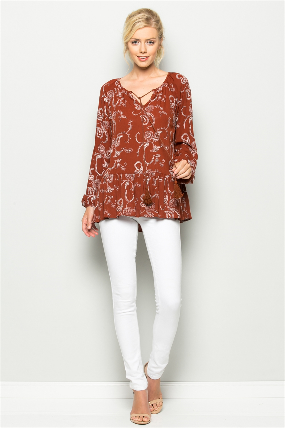 EMBROIDERY PEPLUM TOP - orangeshine.com