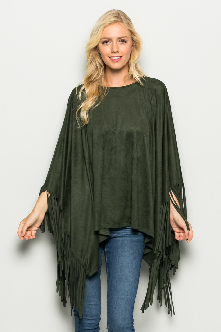 Fringed Suede Poncho Top - orangeshine.com