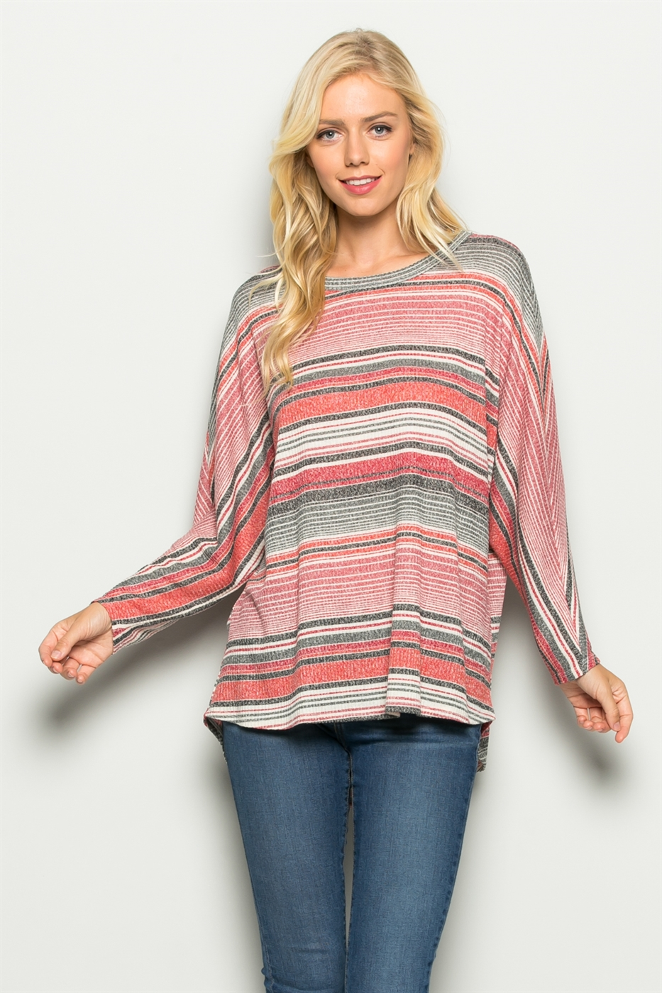 Dolman Sleeve Striped Knit Top - orangeshine.com
