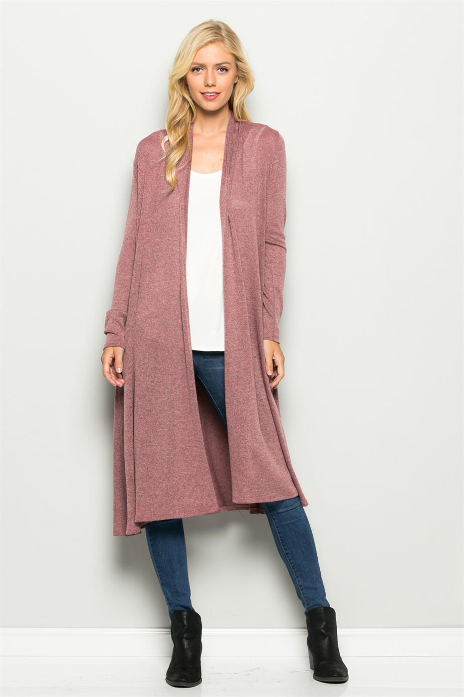 Two Toned Long Sleeve Cardigan - orangeshine.com