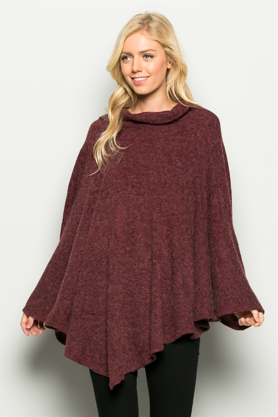 Turtle Neck Brushed Poncho - orangeshine.com