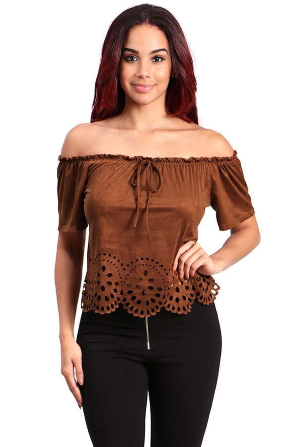 Off-shoulder suede cropped top - orangeshine.com