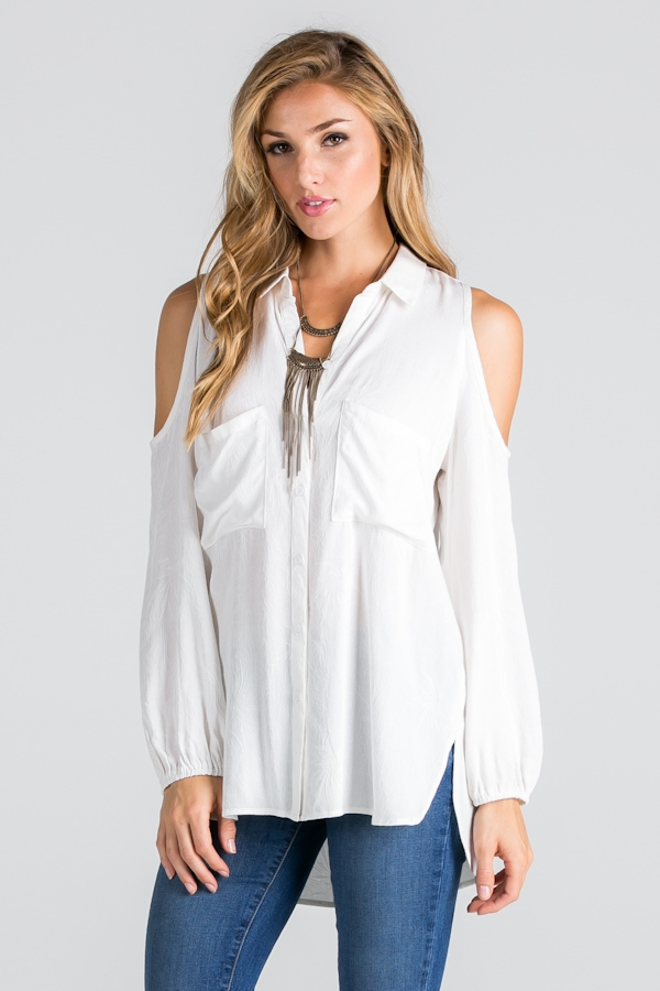COLD-SHOULDER BUTTON-DOWN TOP - orangeshine.com