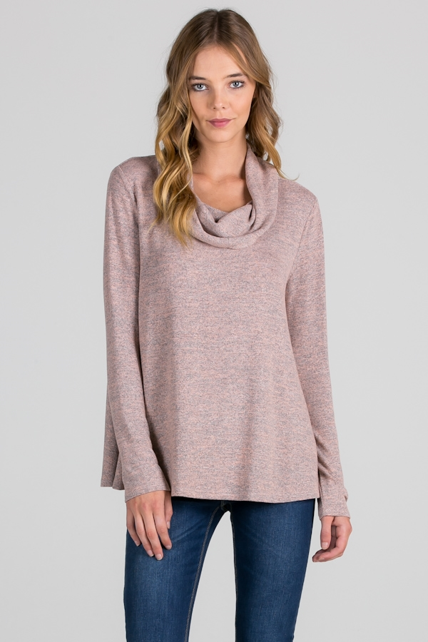PINK COWL NECK MARLED TOP - orangeshine.com