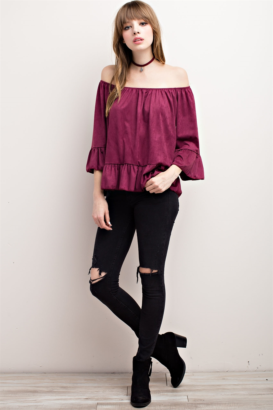 RUFFLED HEM OFF THE SHOULDER T - orangeshine.com