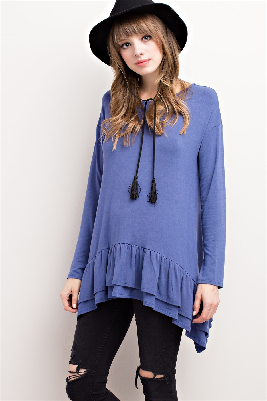 RUFFLED HEM TUNIC TOP - orangeshine.com