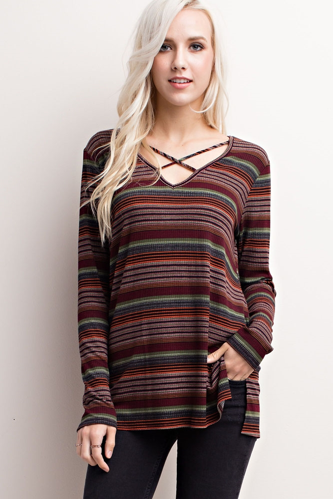 STRIPED CRISSCROSS-FRONT KNIT - orangeshine.com
