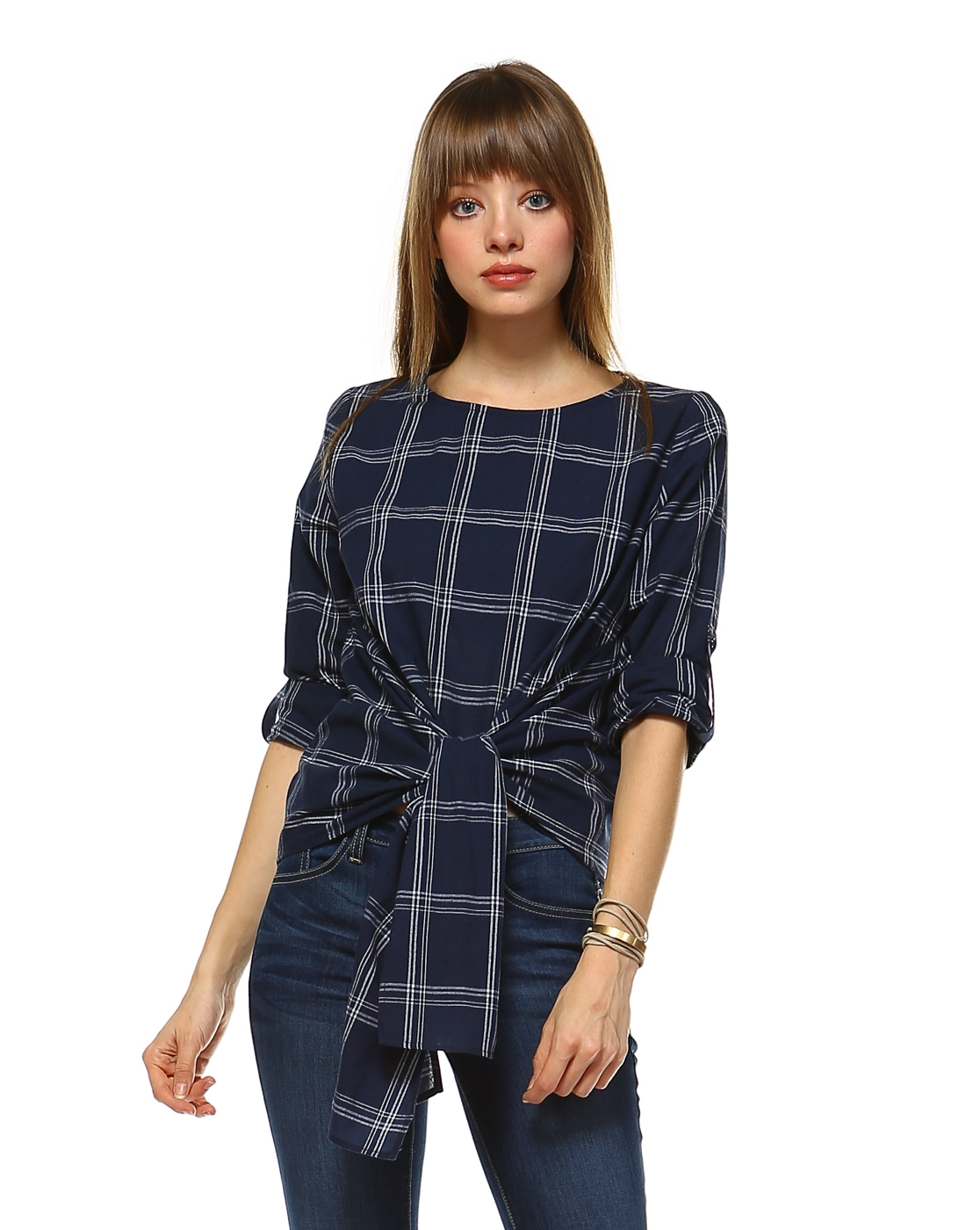 PLAID SELF TIE TOP - orangeshine.com