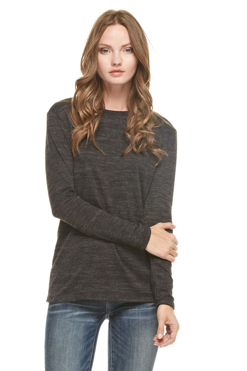 tri brushed sweater top - orangeshine.com