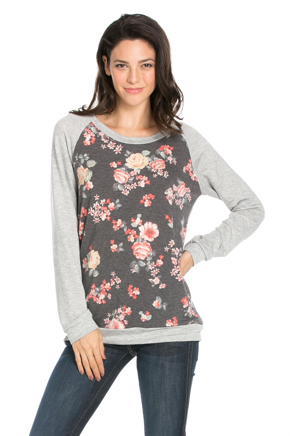 FLORAL RAGLAN SWEAT - orangeshine.com