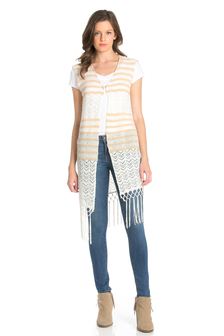 STRIPED CROCHET KNIT VEST - orangeshine.com