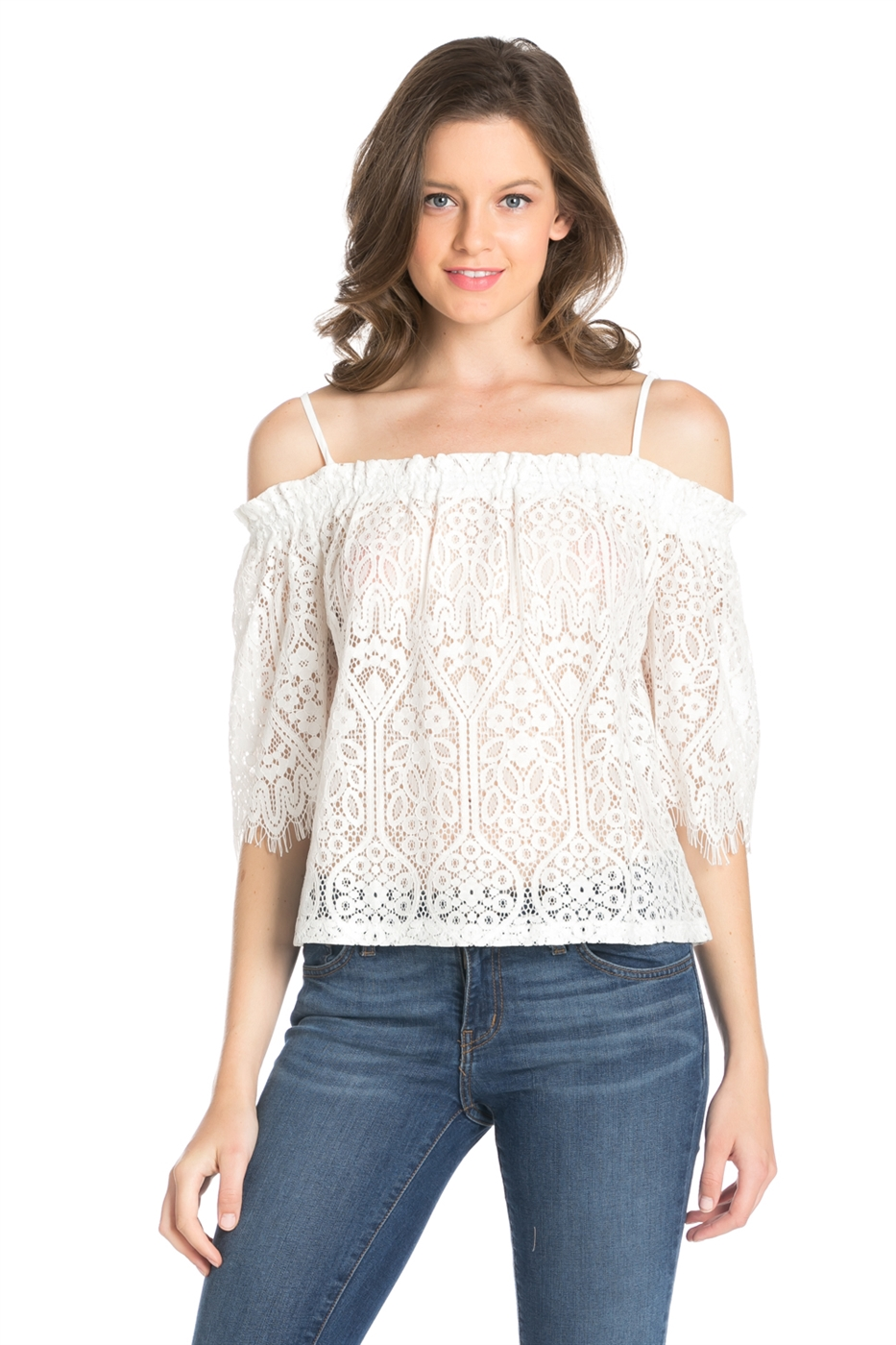 LACE TIE OFF SHOULDER TOP - orangeshine.com