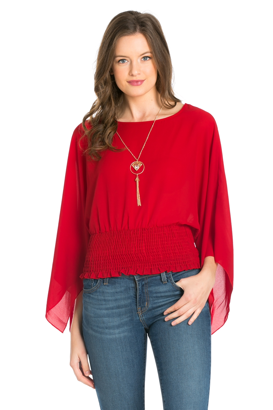 WOOL DOBBY MERROW SLEEVE TOP - orangeshine.com