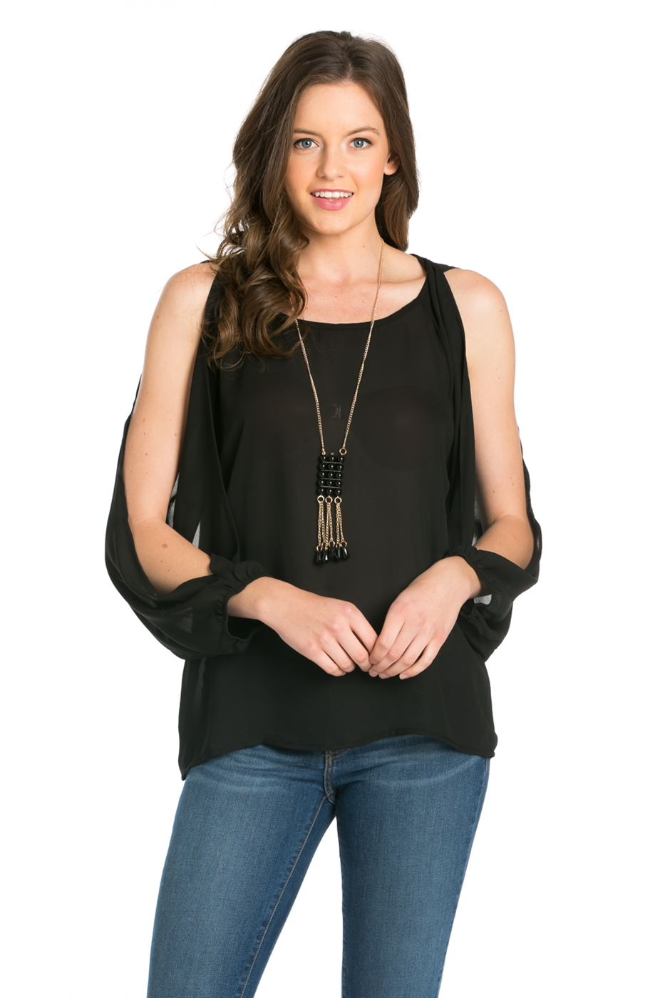 LONG SPLIT SLEEVE W/ NECKLACE - orangeshine.com