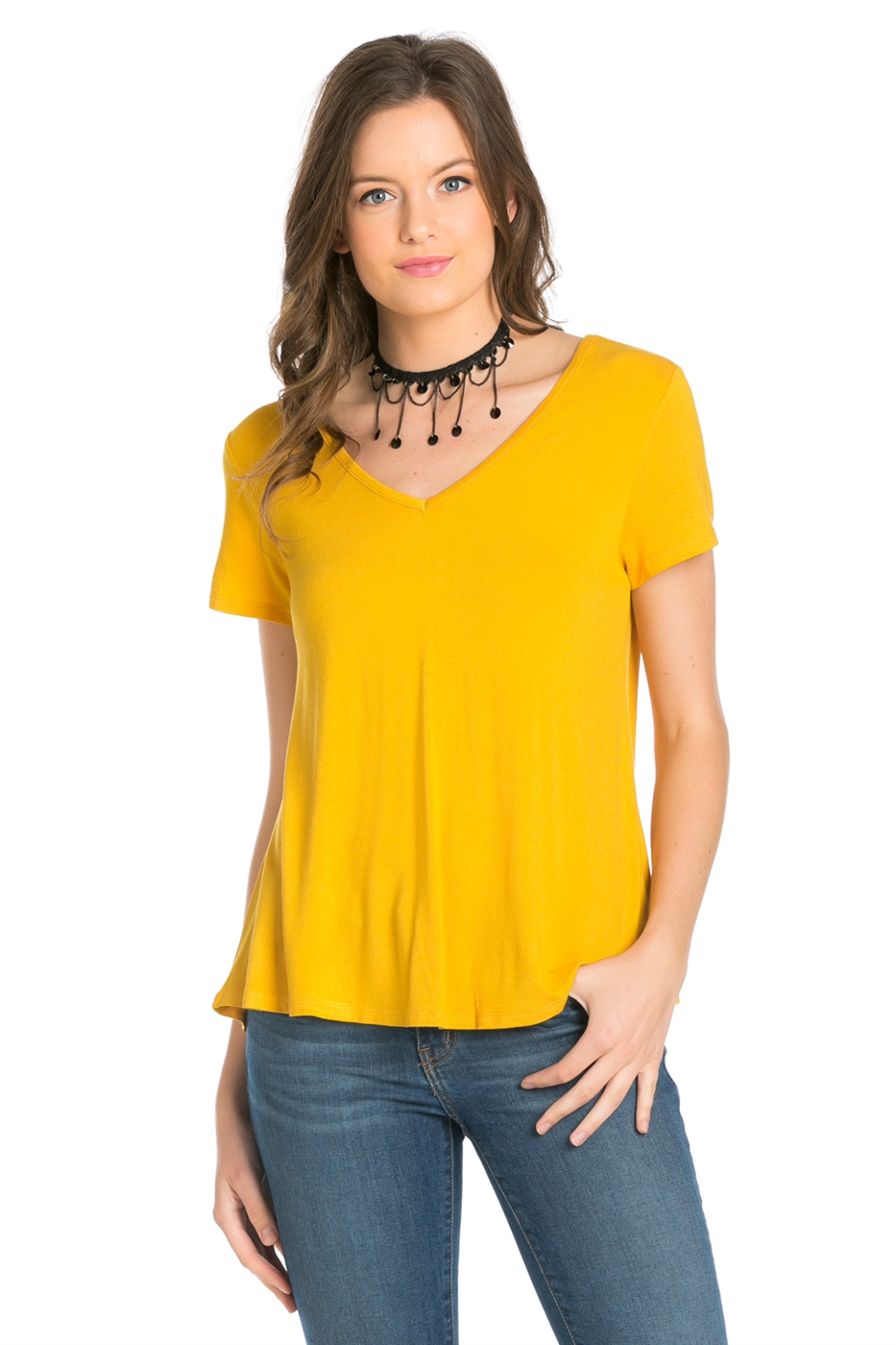 VISCOSE V NECK LINE TOP - orangeshine.com