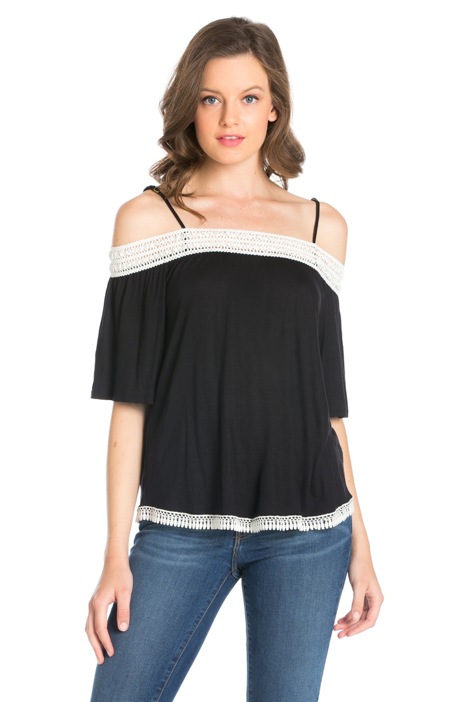 RSJ LACE TRIM OFF SHOULDER TOP - orangeshine.com