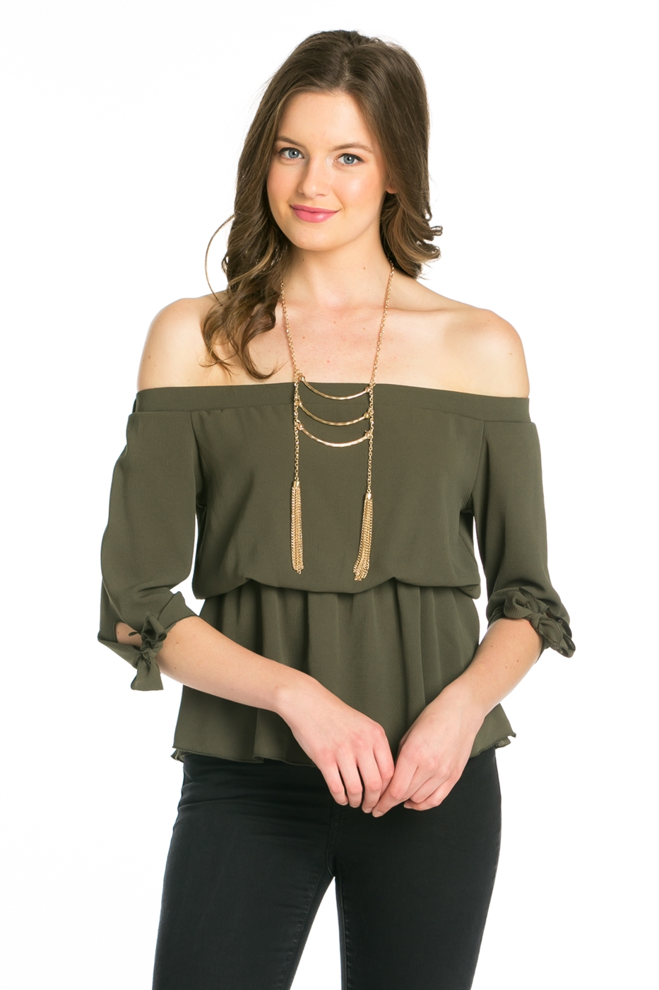 OFF SHOULDER WAIST ELASTIC TOP - orangeshine.com