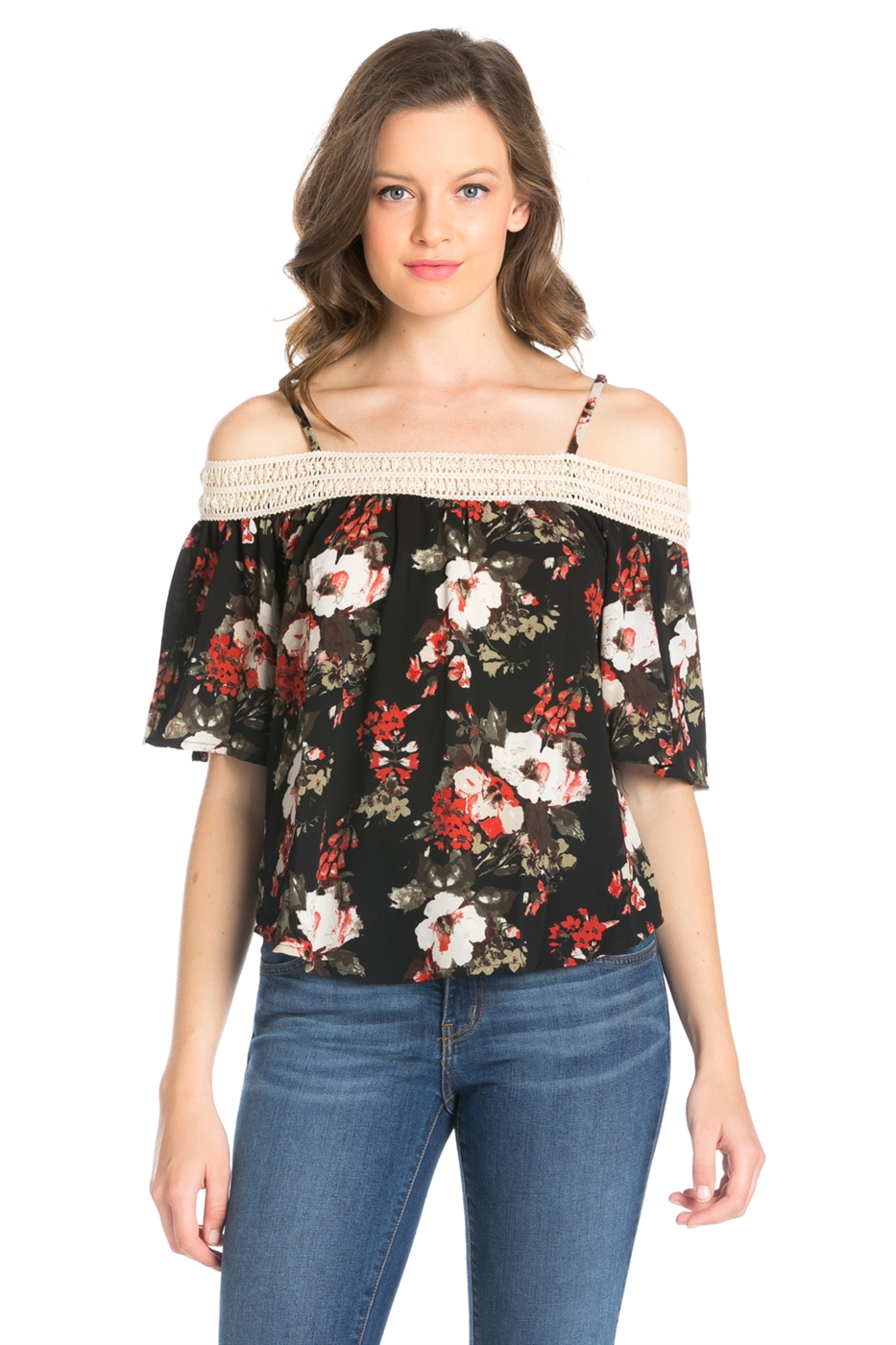 FLORAL PRINT OFF SHOULDER TOP - orangeshine.com