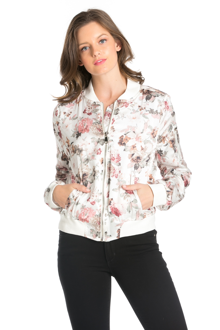 FLOWER PRINTED BOMBER JACKET - orangeshine.com