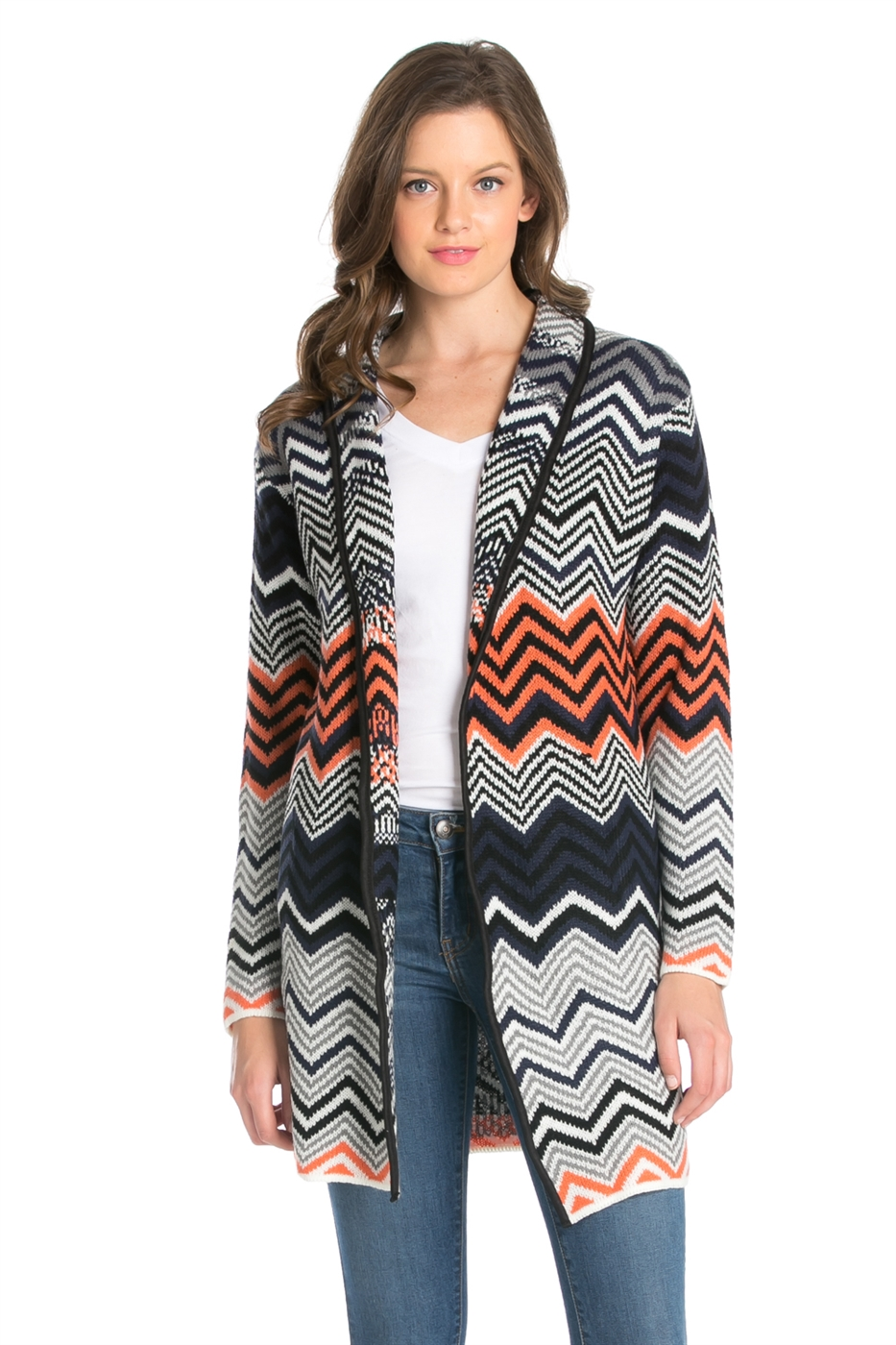GEOMETRIC PATTERN KNIT COAT - orangeshine.com