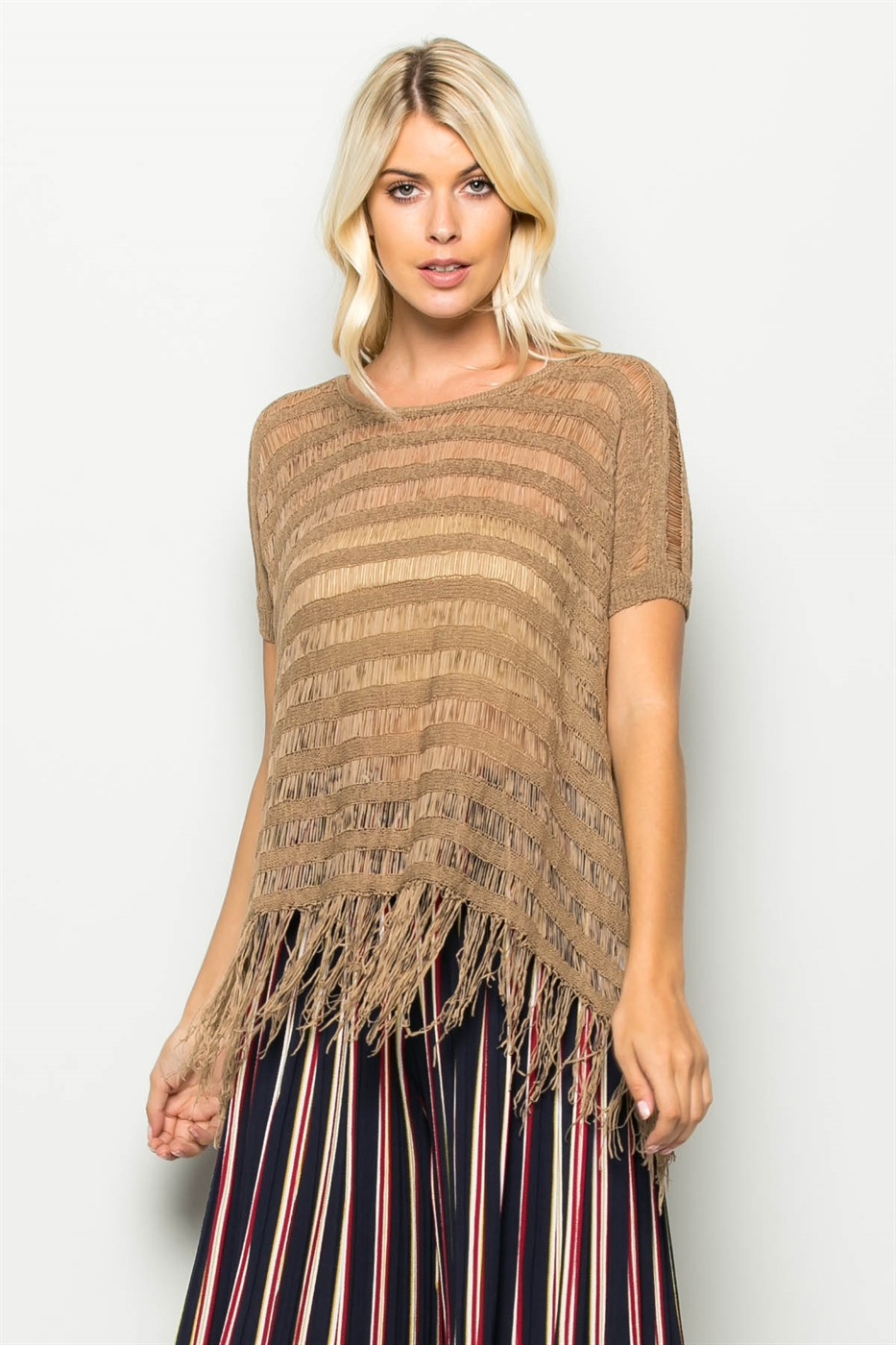 SEE THROUGH FRINGE BOTTOM KNIT - orangeshine.com