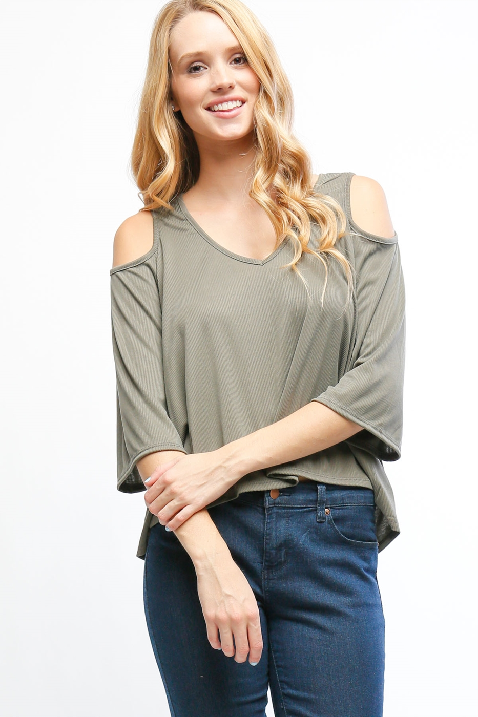 Cold-shoulder v-neck top - orangeshine.com