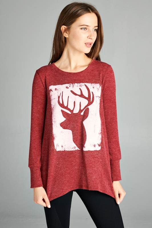 DEER PRINTED TOP - orangeshine.com