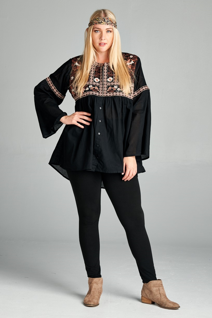 Boho embroidery top - orangeshine.com