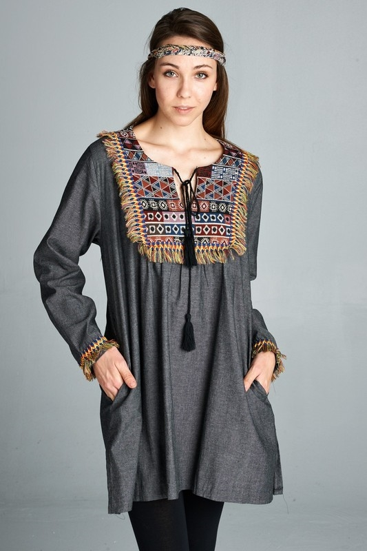 chambray tunic PLUS - orangeshine.com