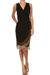 SLEEVELESS WRAP FRINGE DRESS - orangeshine.com