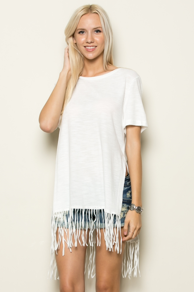 SHORT SLV FRINGE TOP - orangeshine.com