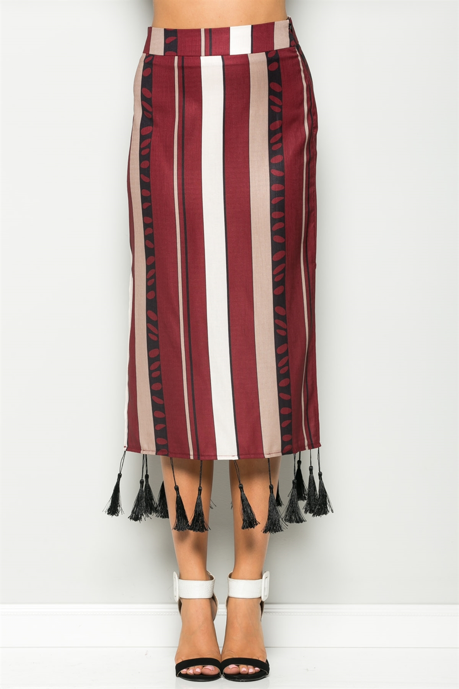 TASSEL BOTTOM STRIPE SKIRT - orangeshine.com