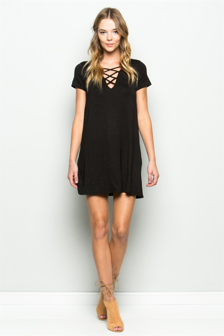 SPAGHETTI FRONT SWING DRESS - orangeshine.com