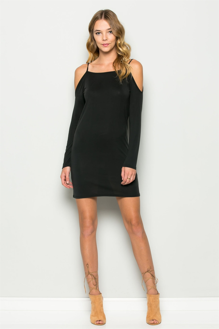 CUPRO COLD SHOULDER DRESS - orangeshine.com