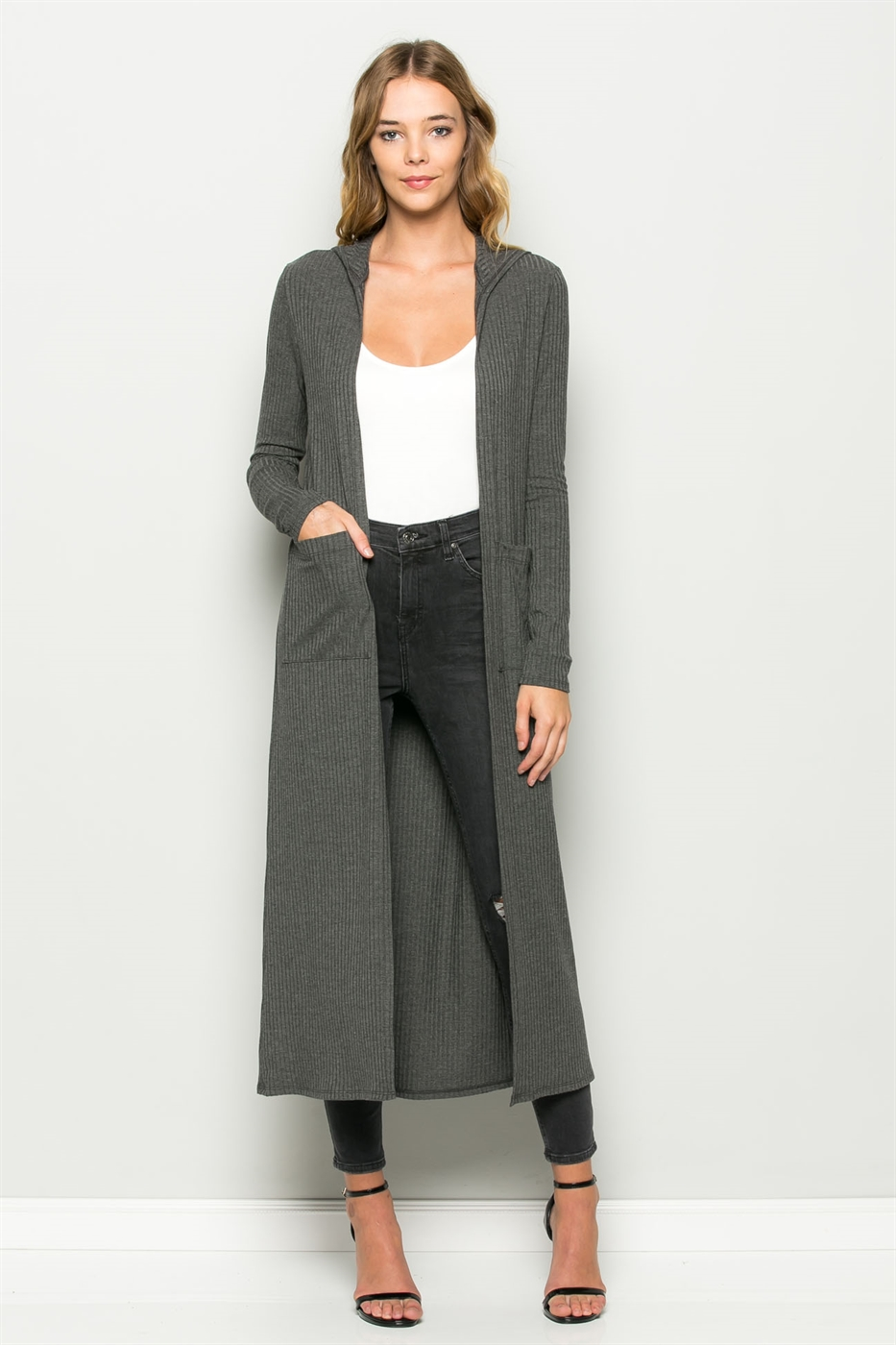 RIBBED HOODED DUSTER W/POCKETS - orangeshine.com