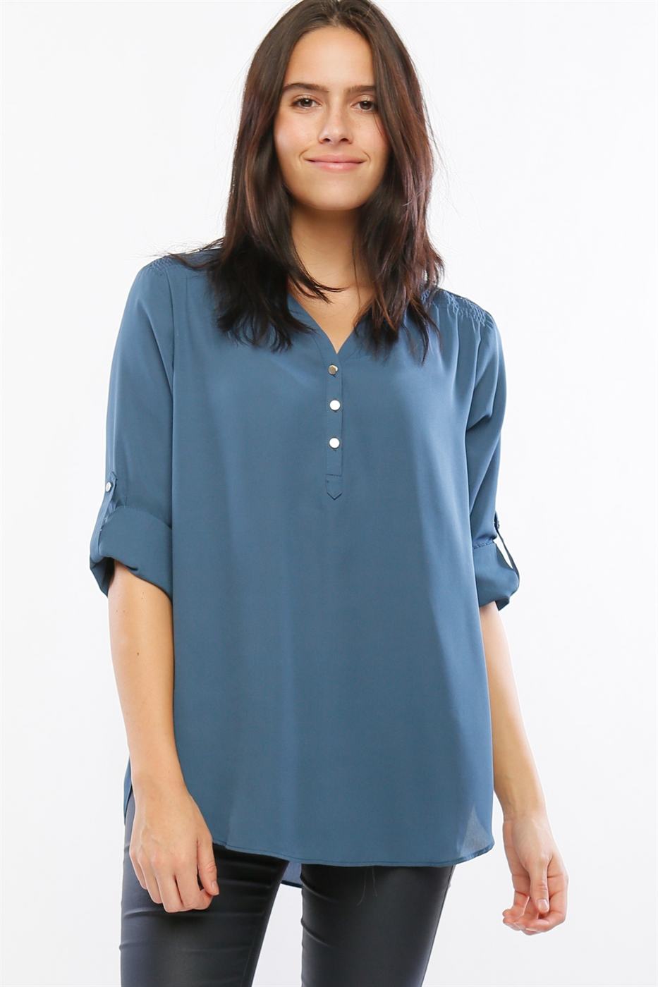 TUNIC BLOUSE WITH METAL TRIMS - orangeshine.com