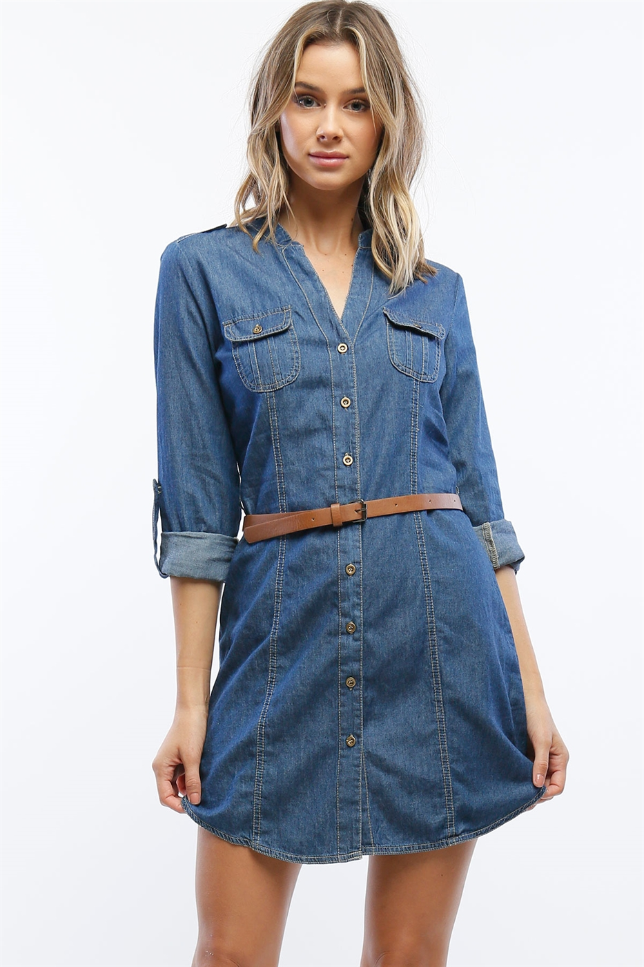 CHAMBRAY SHIRT DRESS W BELT - orangeshine.com