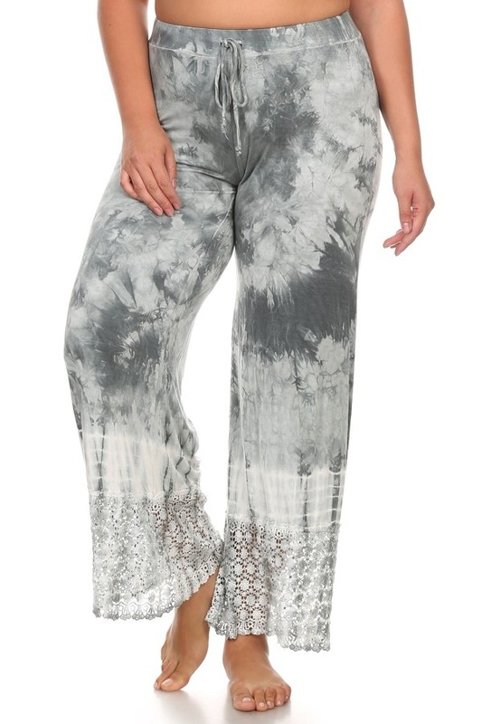 TIE DYE BOTTOM LACE PANT - orangeshine.com