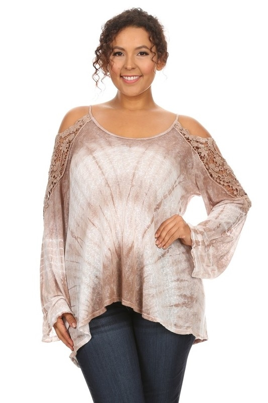 CROCHET LACE SHOULDER L/S TOP - orangeshine.com