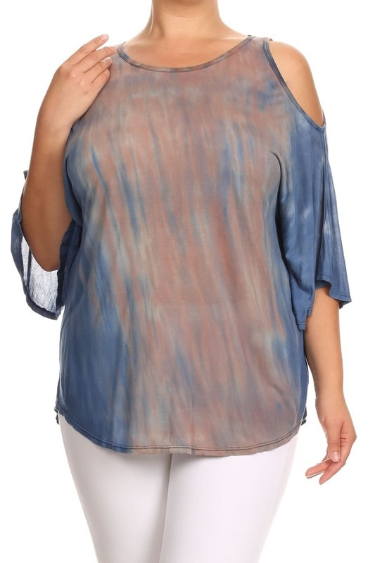TIE DYE COLD SHOULDER TOP - orangeshine.com