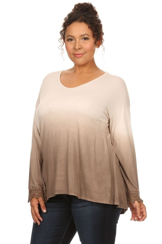 OMBRE LACE DETAIL SLEEVE TOP - orangeshine.com