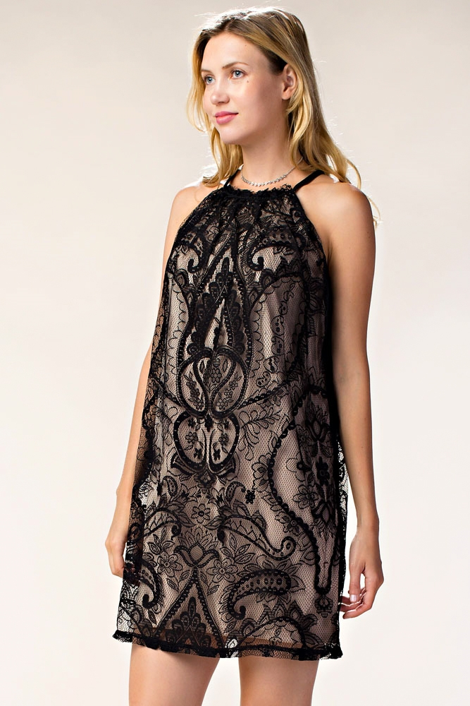 ALL OVER LACE MINI DRESS - orangeshine.com