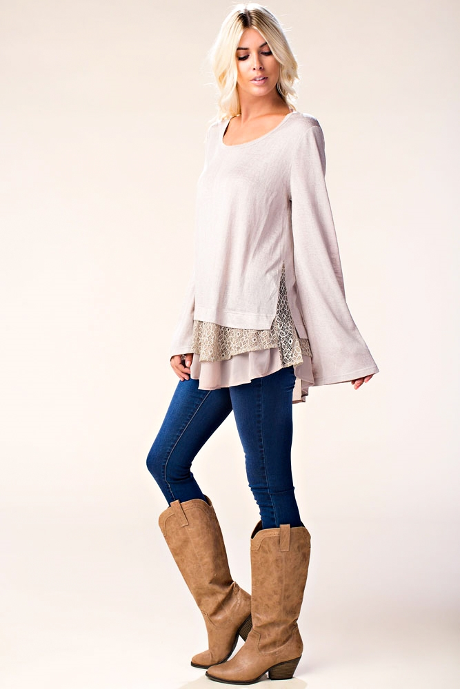 SOLID TOP WITH CONTRAST LACE - orangeshine.com