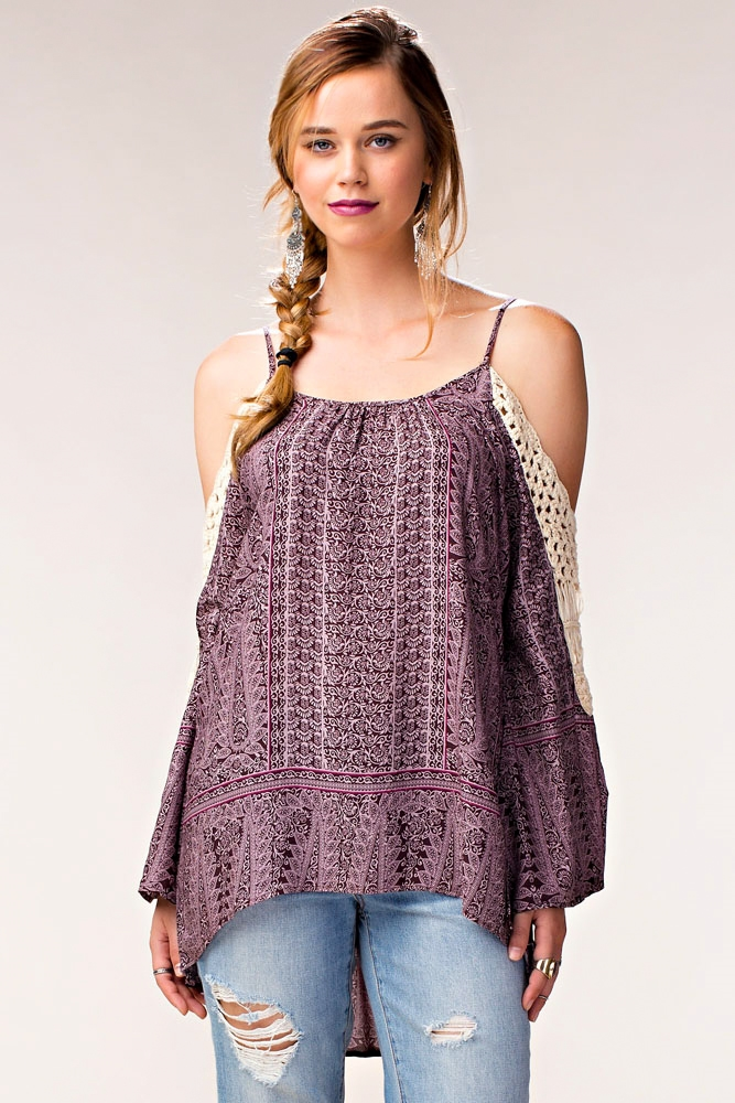 PRINT TOP W/ CROCHET - orangeshine.com