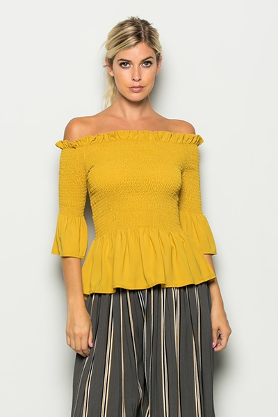 CRINKLED OFF THE SHOULDER TOP - orangeshine.com