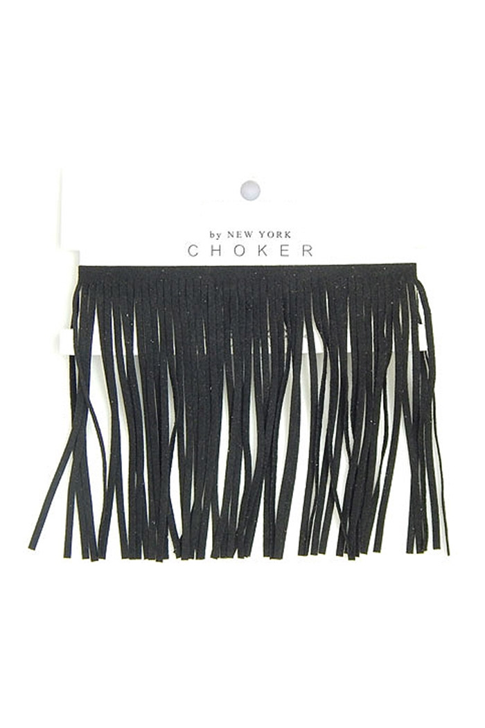 Fringe Leather Choker - orangeshine.com